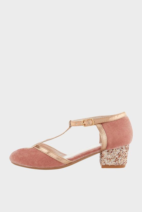 Детские розовые туфли NORA VELVET SHOE