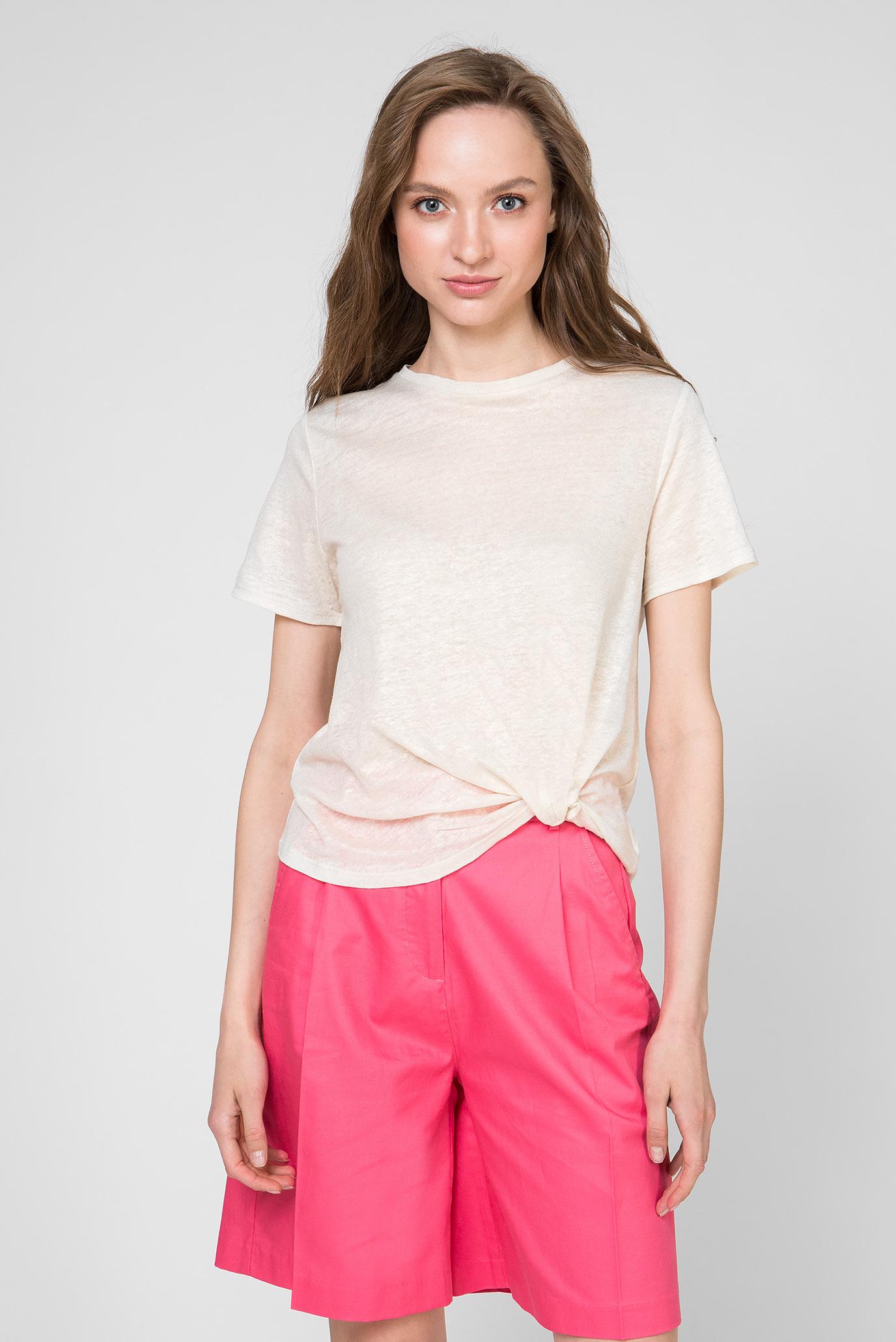 Женская бежевая льняная футболка LUA 1