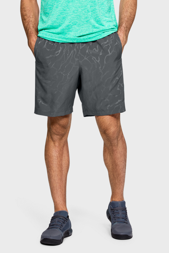 Мужские темно-серые шорты Woven Graphic Emboss Shorts-GRY