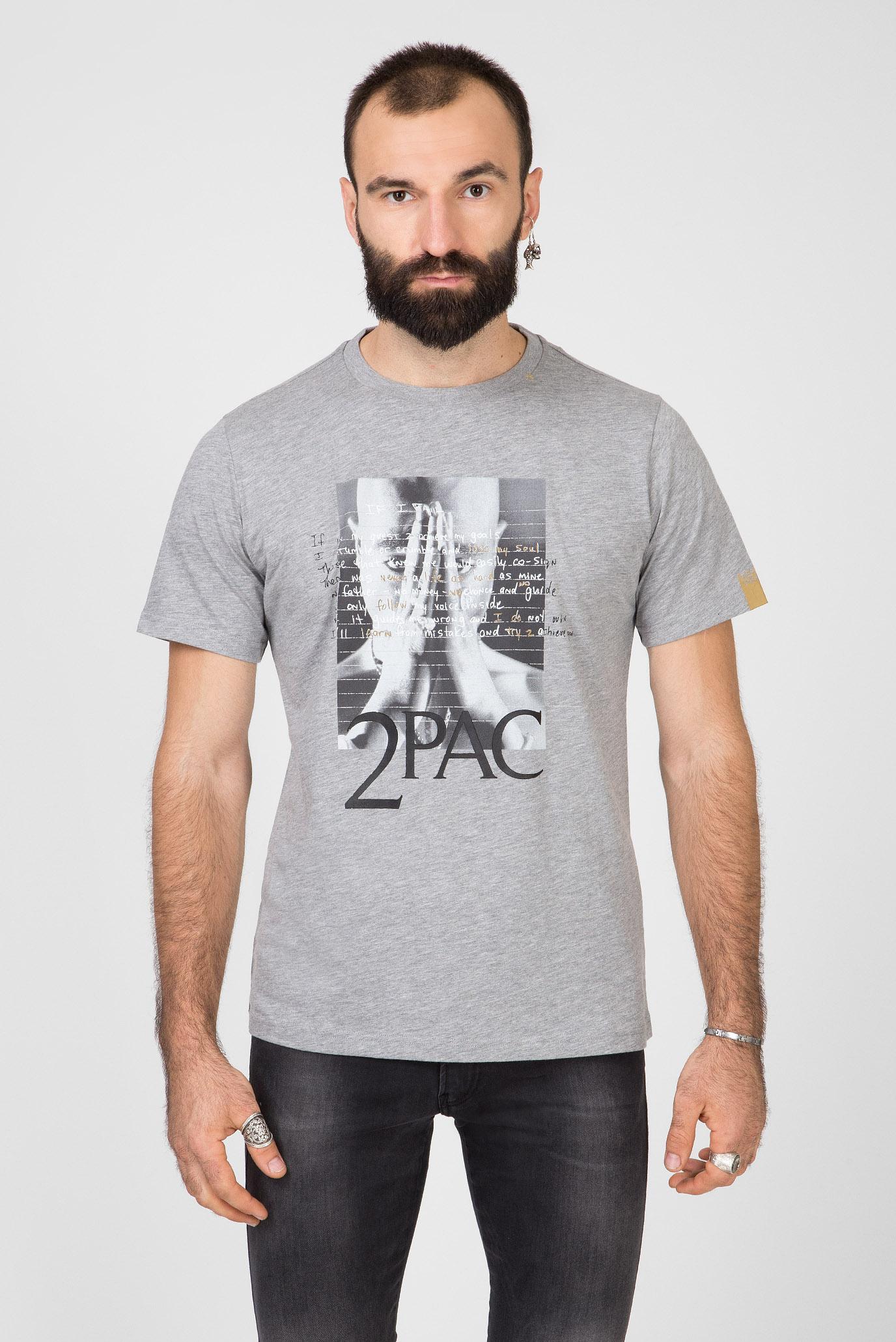 Мужская серая футболка TRIBUTE 2PAC Replay