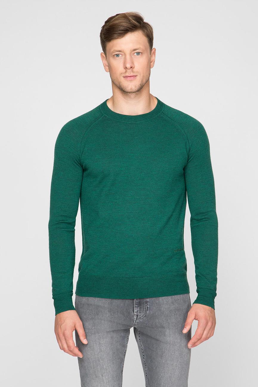 Мужской зеленый шерстяной джемпер