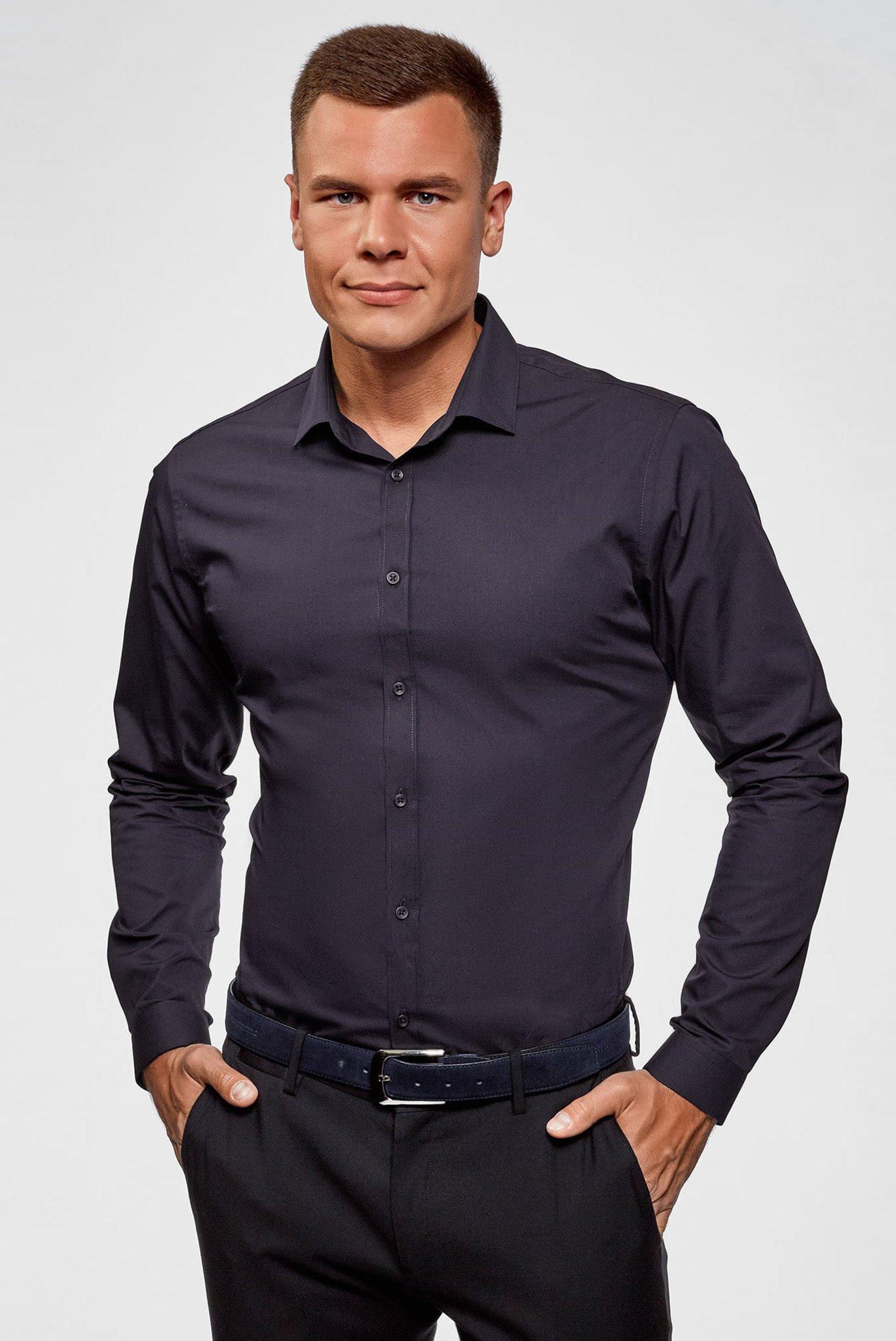 749d7d231a2 Купить Мужская темно-синяя рубашка Oodji Oodji 3B110012M 23286N 7902N –  Киев