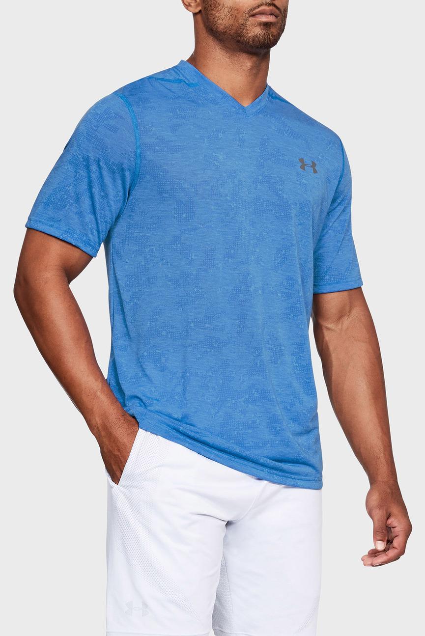 Мужская синяя футболка/UA THREADBORNE PRINTED VNECK