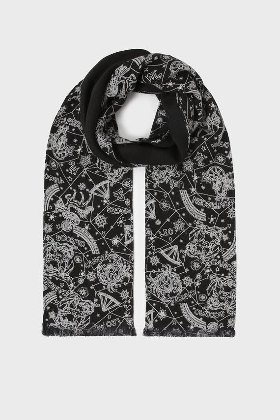 Женский черный шарф с принтом ZENDAYA SKINNY SCARF PRINTED