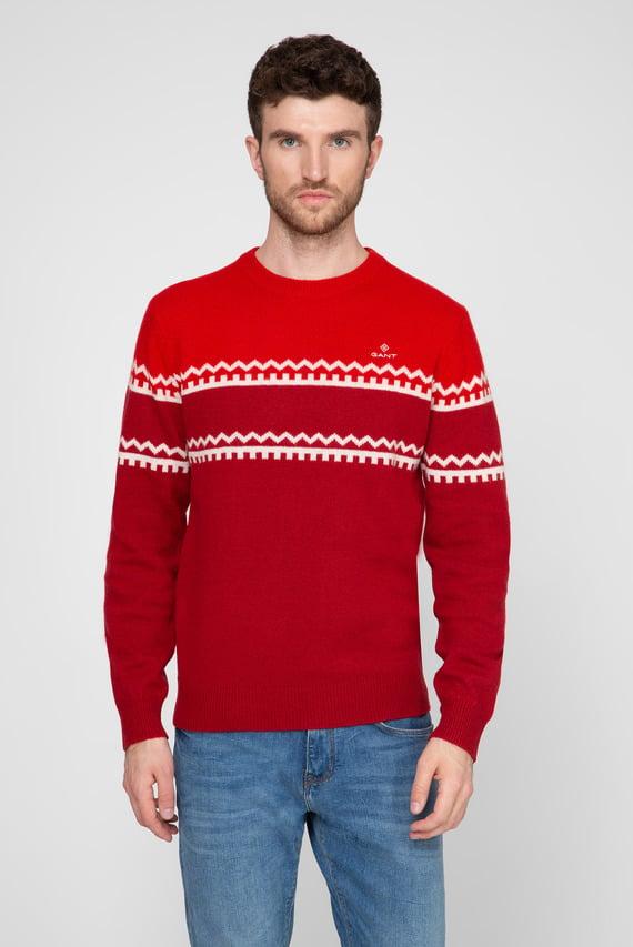 Мужской красный шерстяной свитер с узором HOLIDAY STRIPE