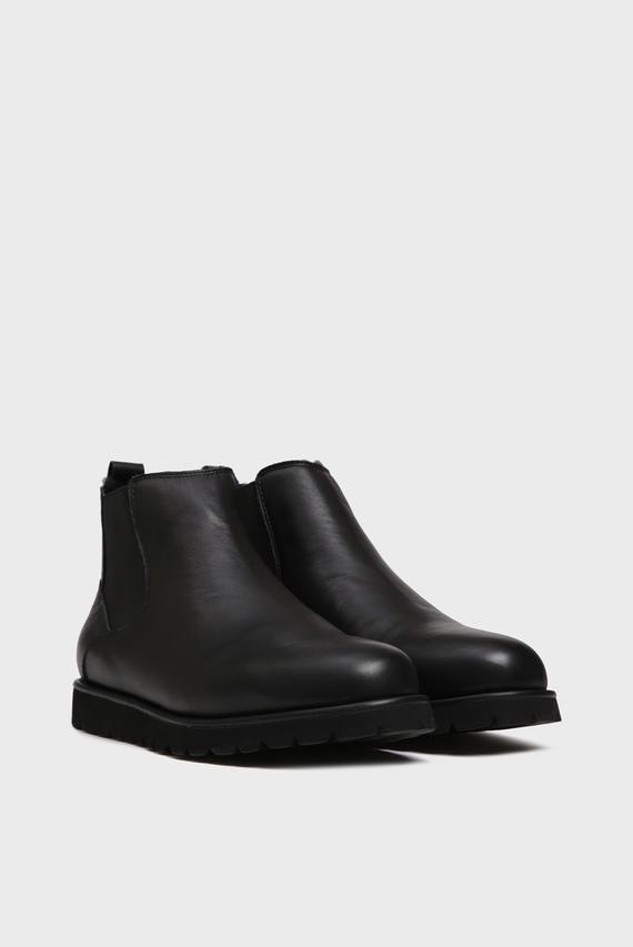 Мужские черные кожаные ботинки с мехом Dawson