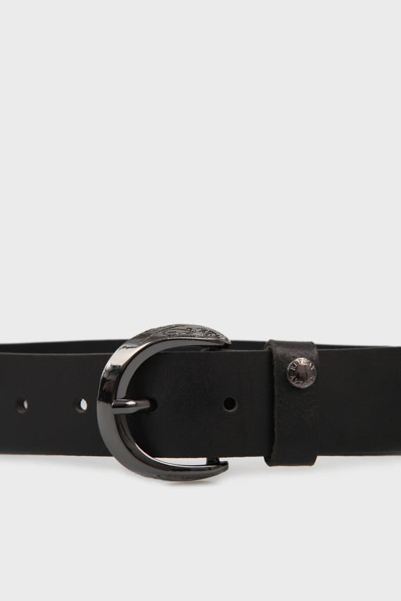 Женский черный кожаный ремень
