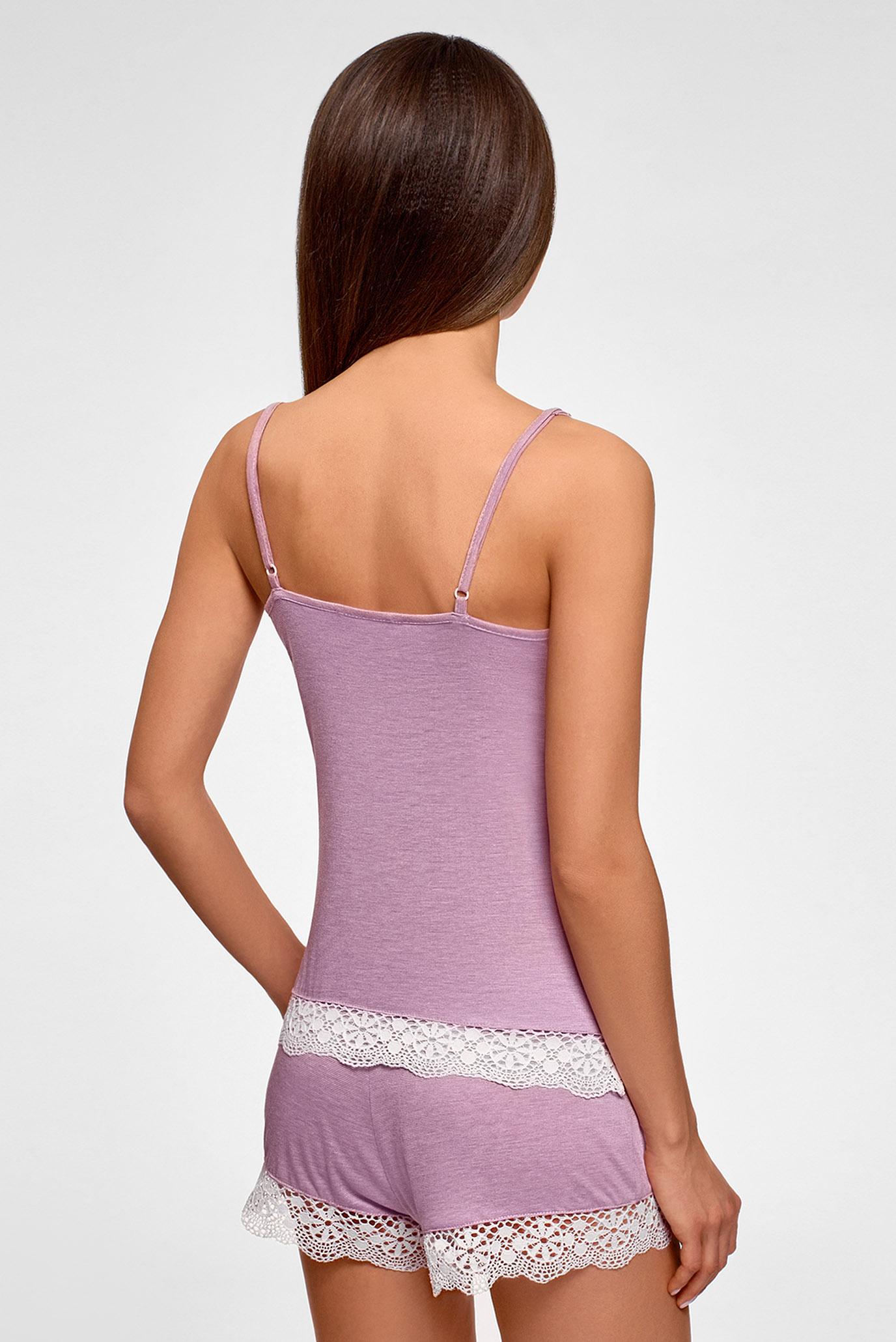 Женская сиреневая пижама (майка, шорты) Oodji