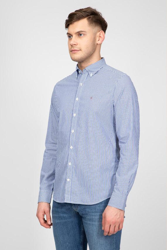 Мужская синяя рубашка в полоску