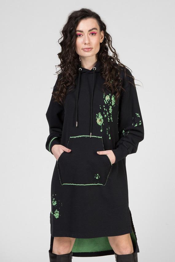 Женское черное платье-худи D-ILSE-E ABITO