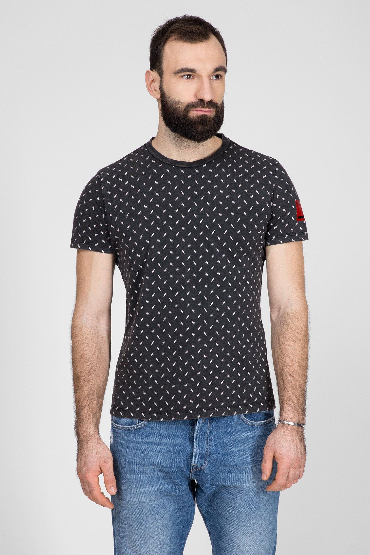 Мужская темно-серая футболка с принтом Replay