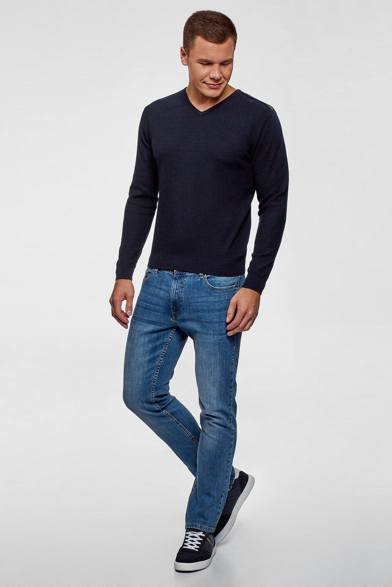 Мужской синий пуловер Oodji
