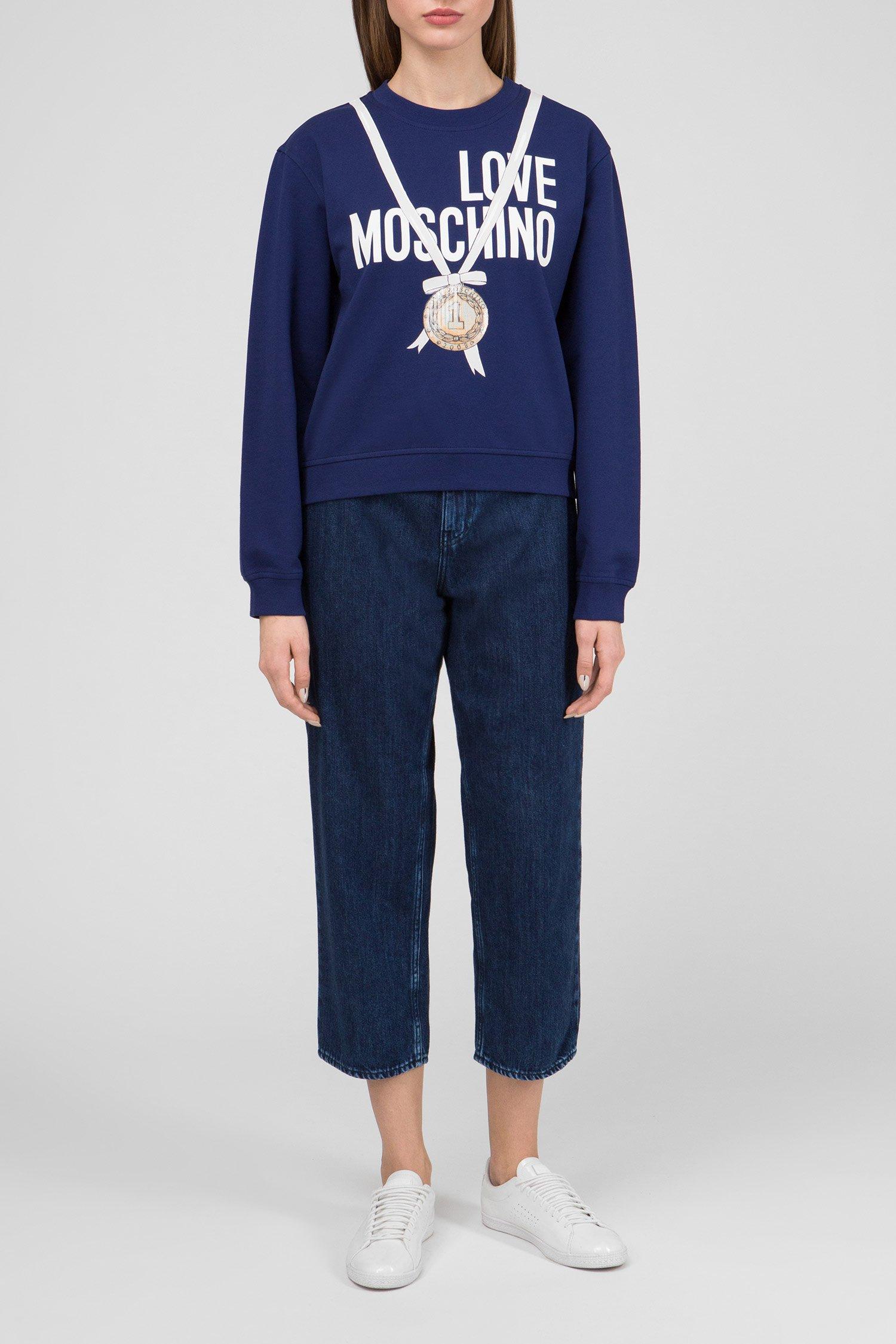 Женский синий свитшот с принтом Love Moschino