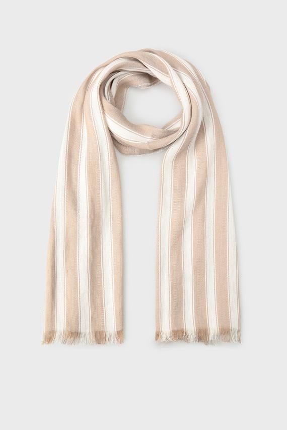 Женский бежевый шарф в полоску