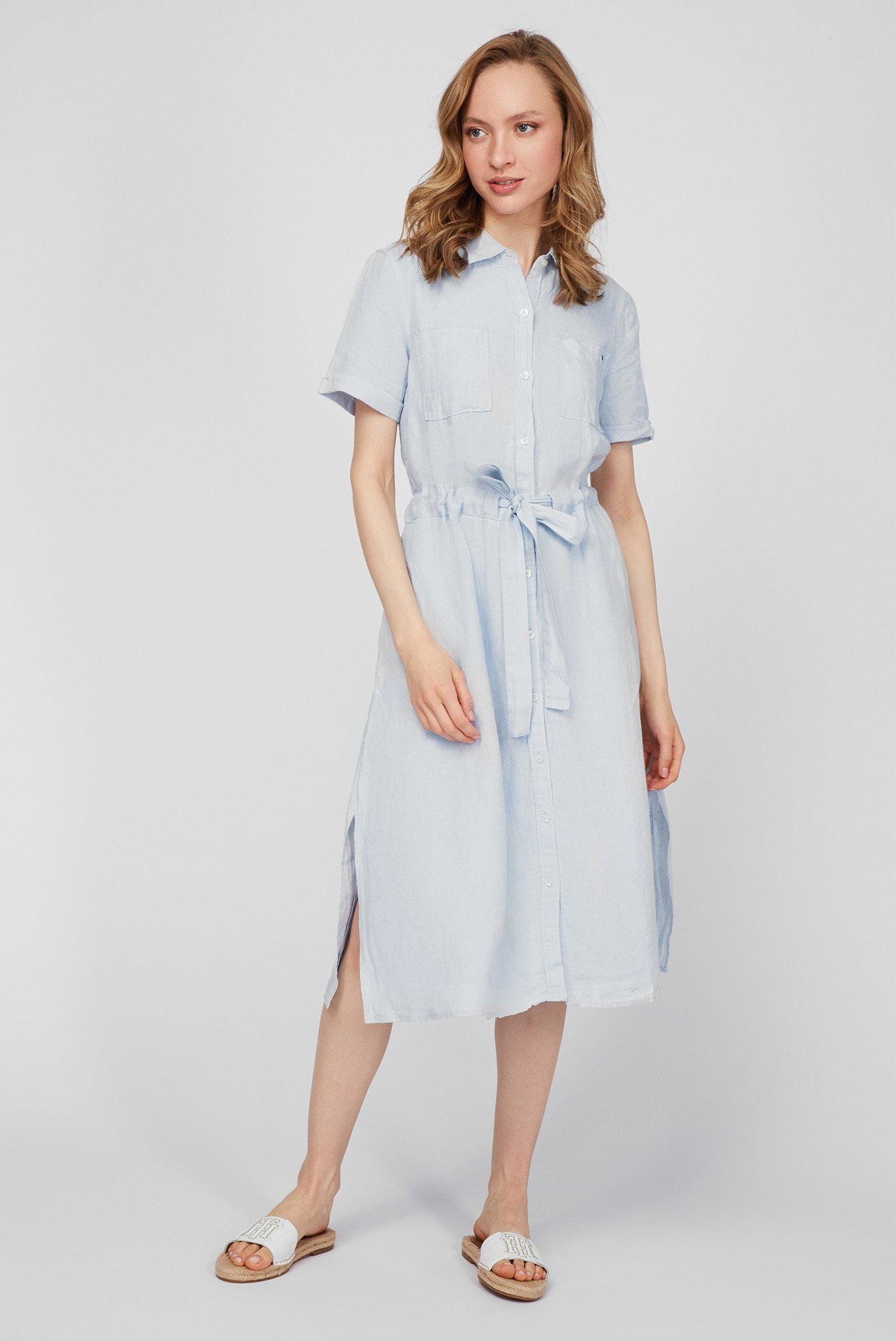 Женское голубое льняное платье ABO LINEN 1