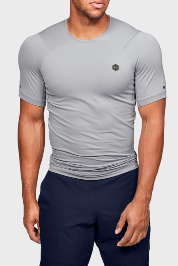 Мужская серая спортивная компрессионная футболка UA HG Rush Compression SS