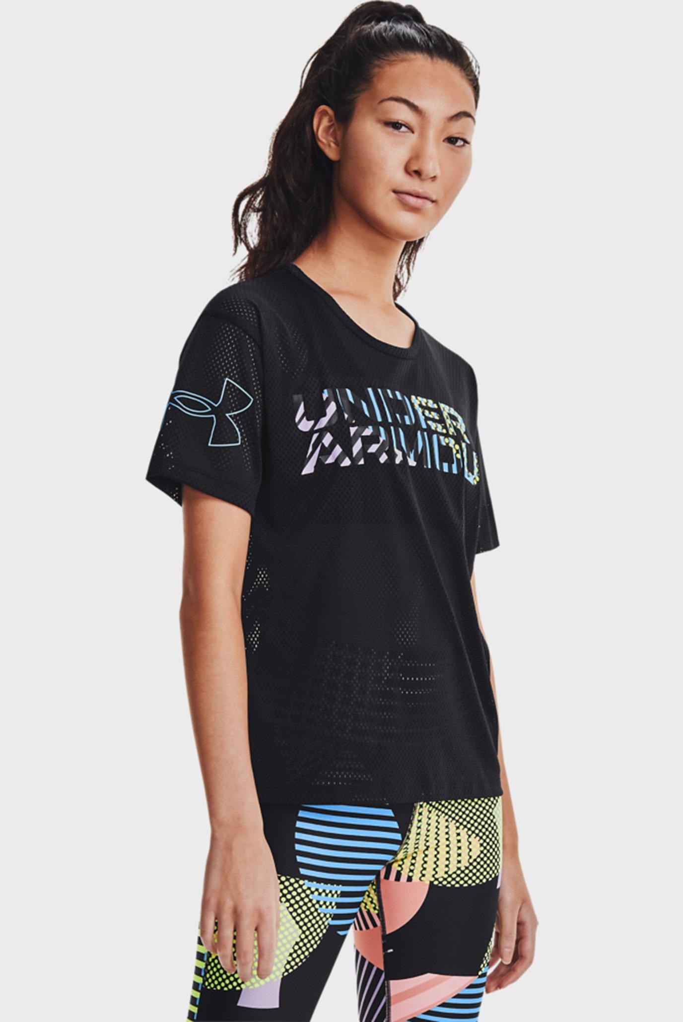 Жіноча чорна футболка UA Mesh Geo Graphic SS 1