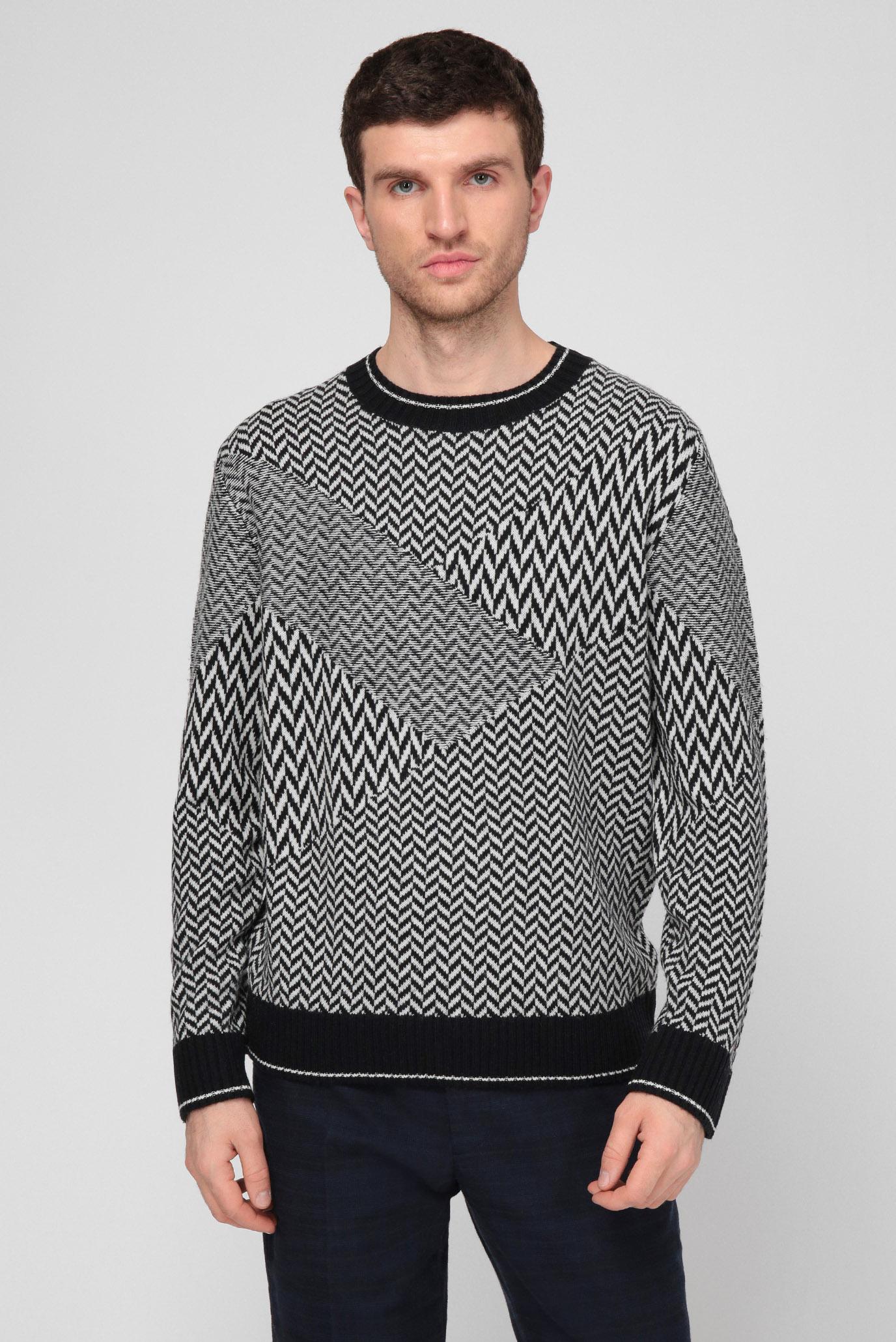Мужской шерстяной свитер PATCHWORK HERRINGBONE 1
