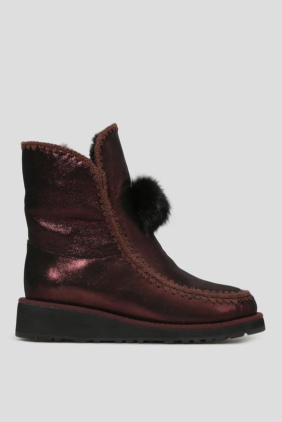 Женские бордовые кожаные ботинки с мехом