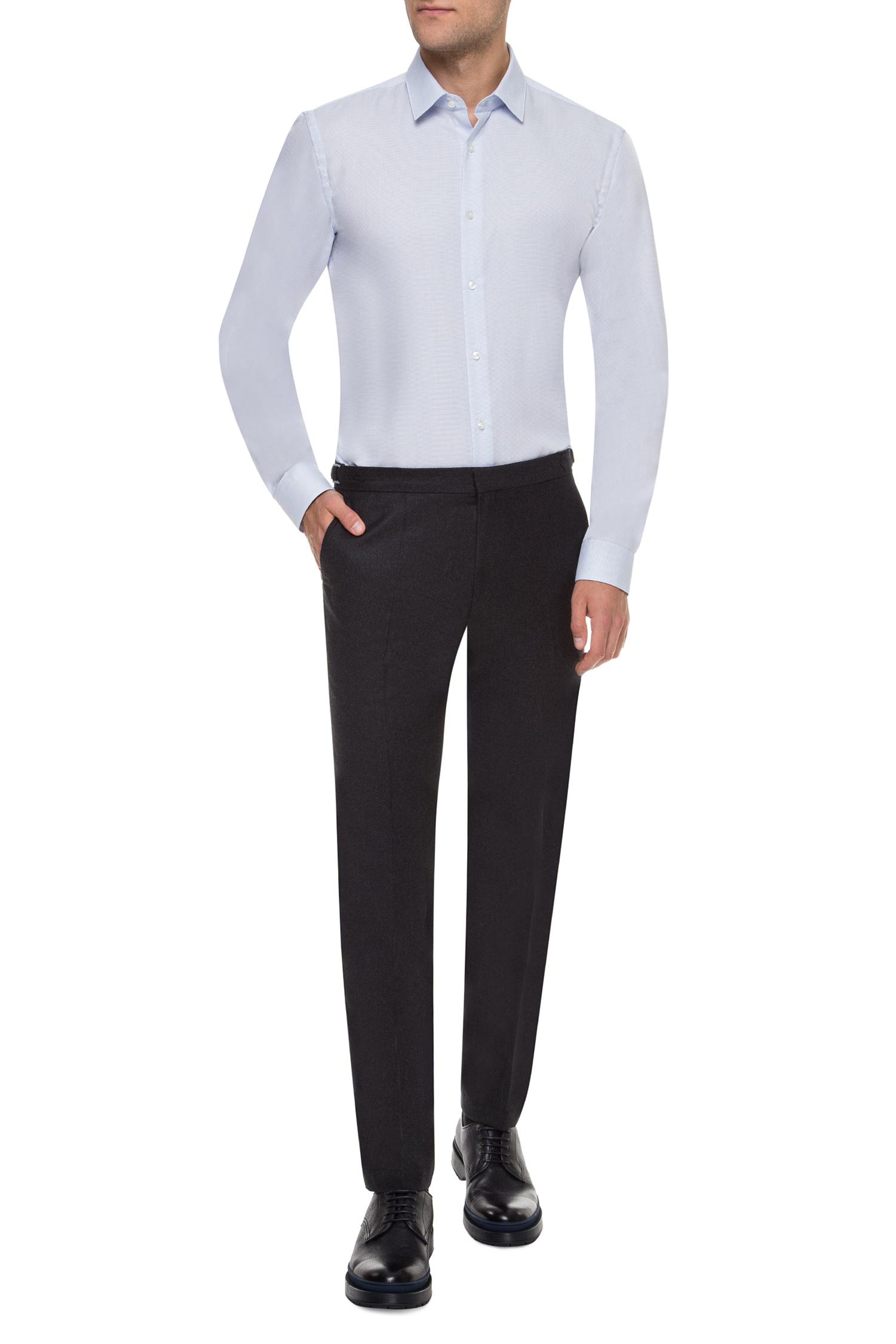 Мужские серые шерстяные брюки BOSS