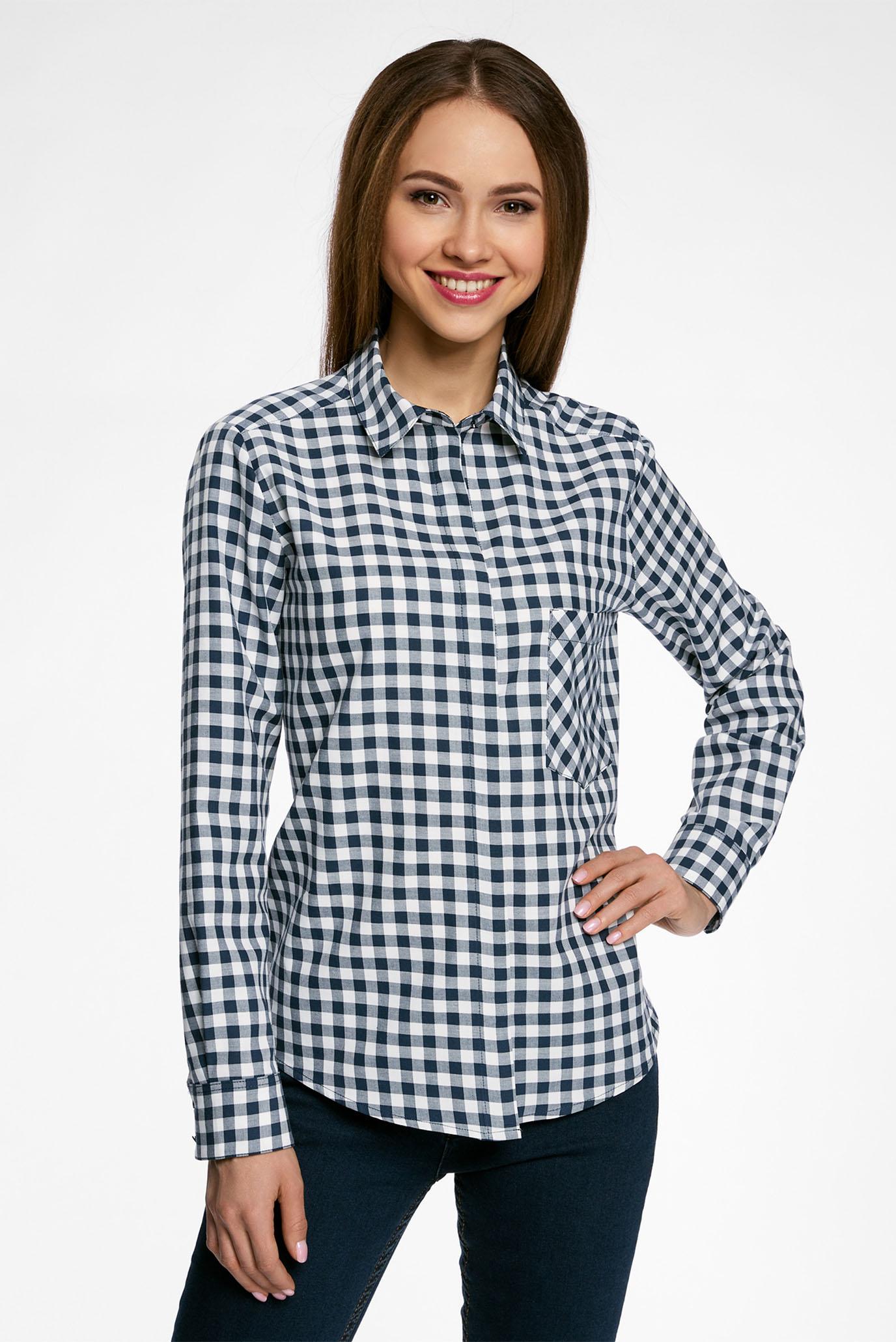 6656d446c6fb Купить Женская синяя рубашка в клетку Oodji Oodji 11411099-1/43566 ...