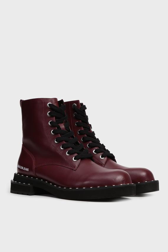 Женские бордовые кожаные ботинки NANNIE