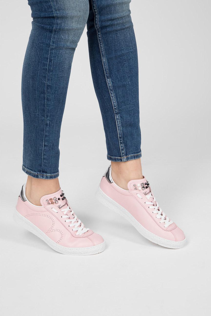 Женские розовые кожаные кеды