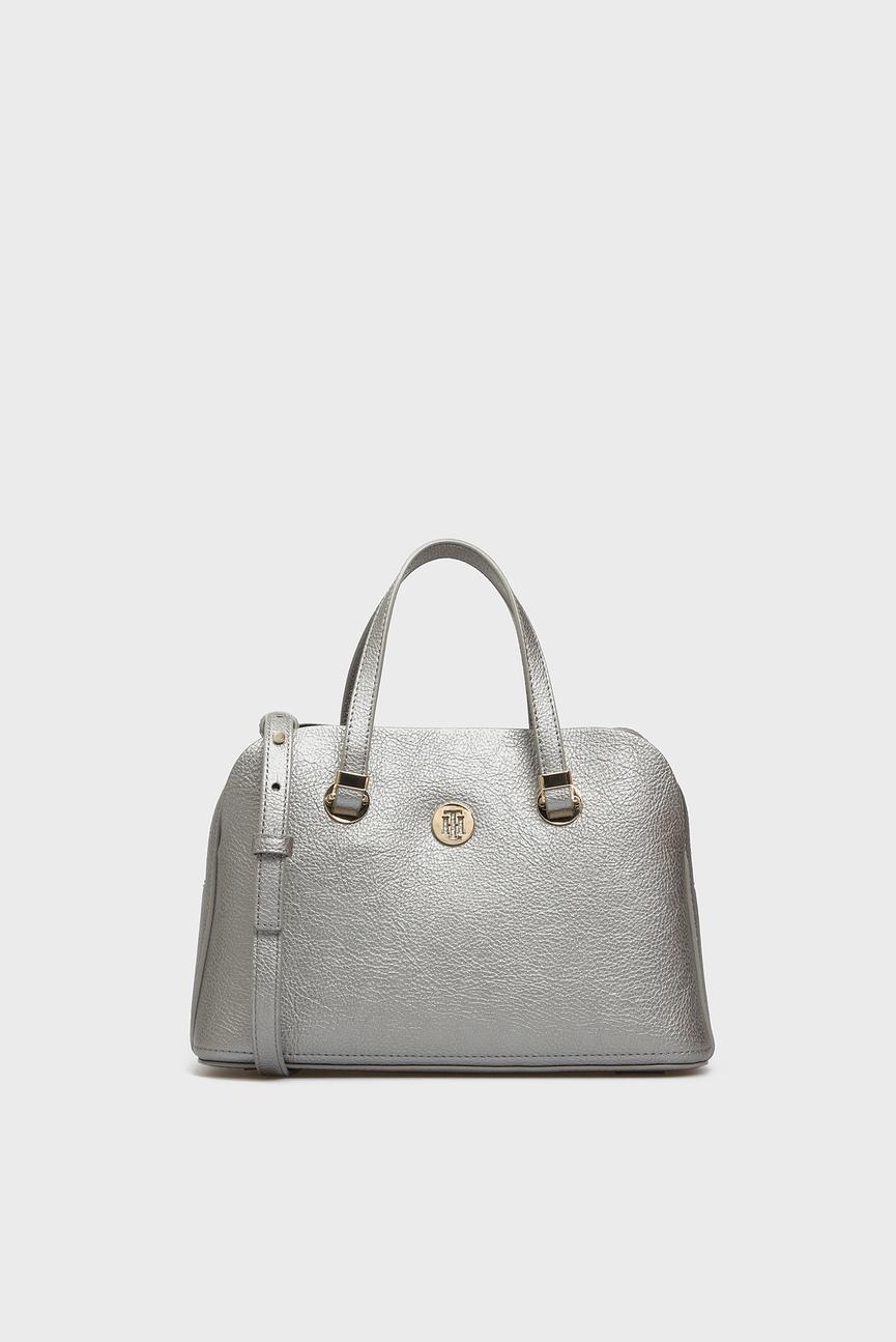 Женская серебристая сумка на плечо TH CORE MED