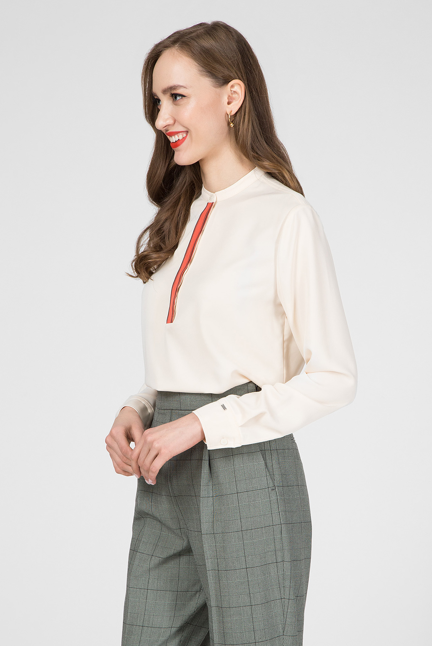 Женская бежевая блуза LS PLACKET DETAIL Calvin Klein