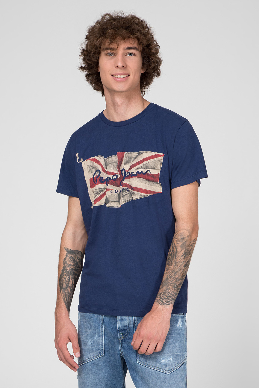 Мужская синяя футболка с принтом FLAG LOGO