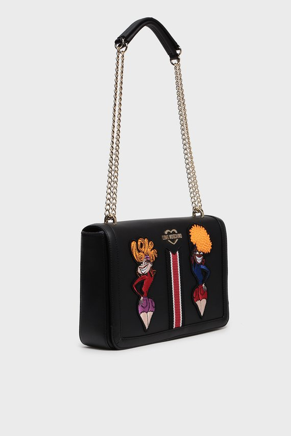 Женская черная сумка на плечо BORSA VITELLO NATURAL GRAIN