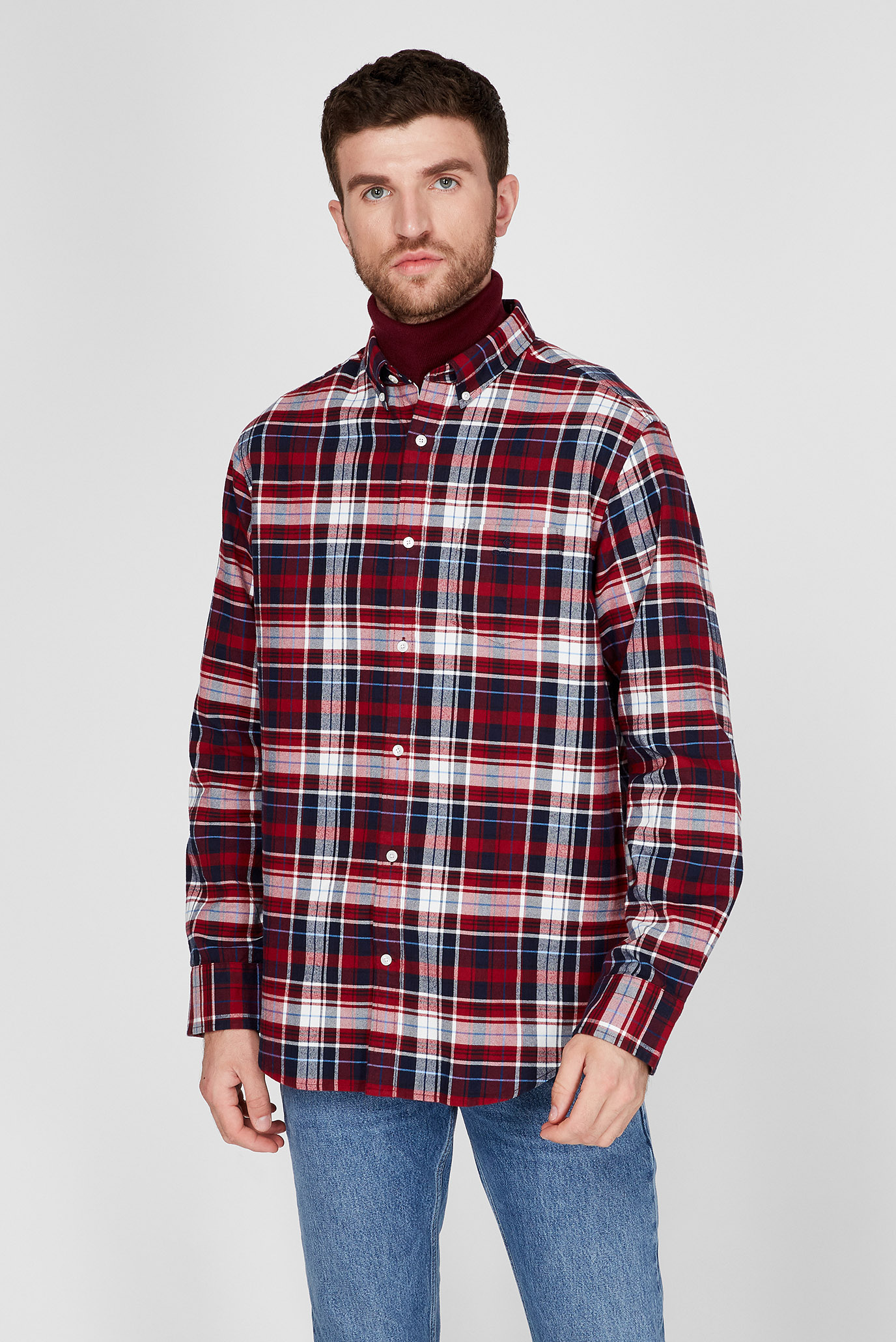 Мужская рубашка в клетку BRUSHED OXFORD PLAID 1