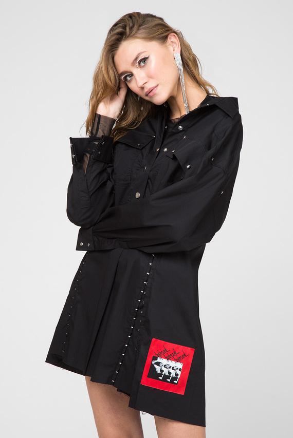 Женское черное платье-рубашка D-EDET