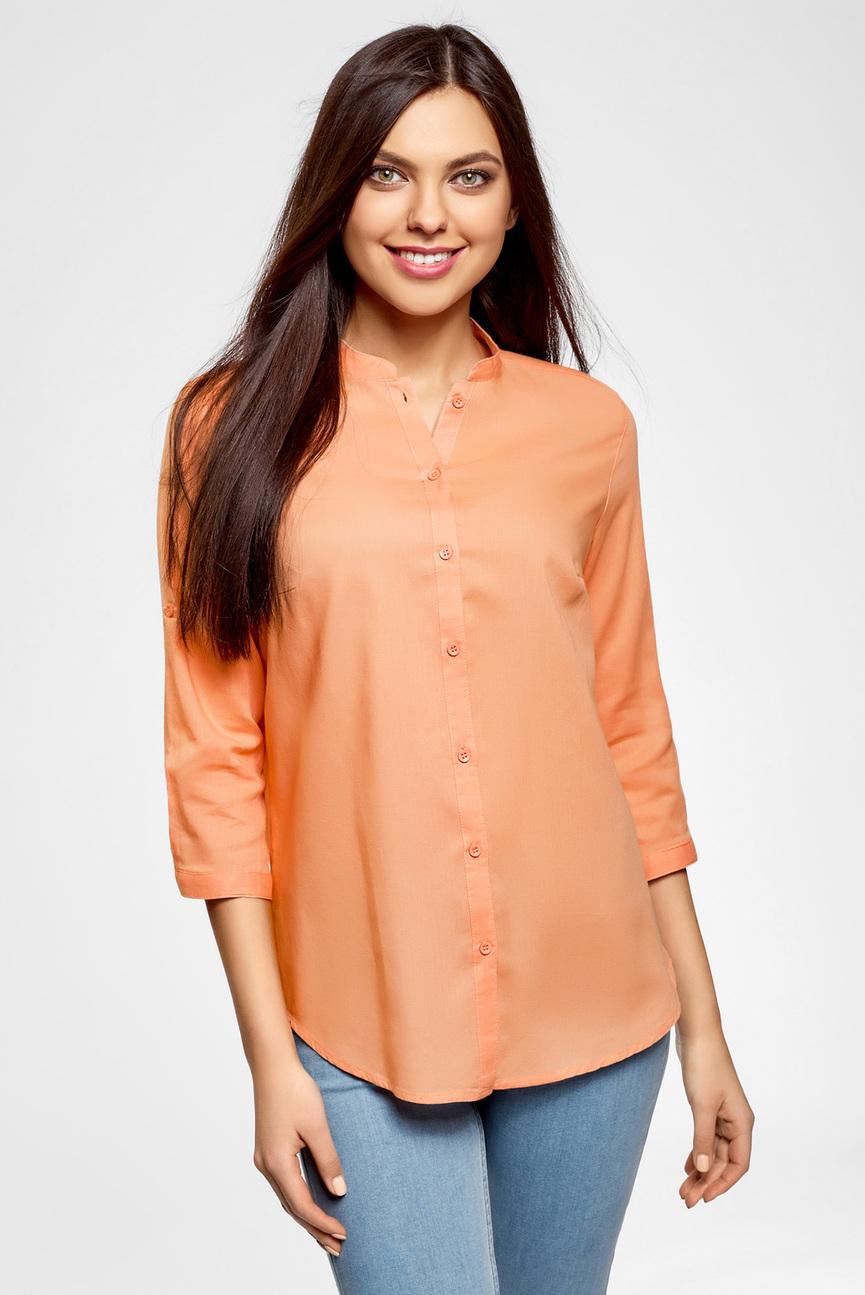 Женская персиковая рубашка