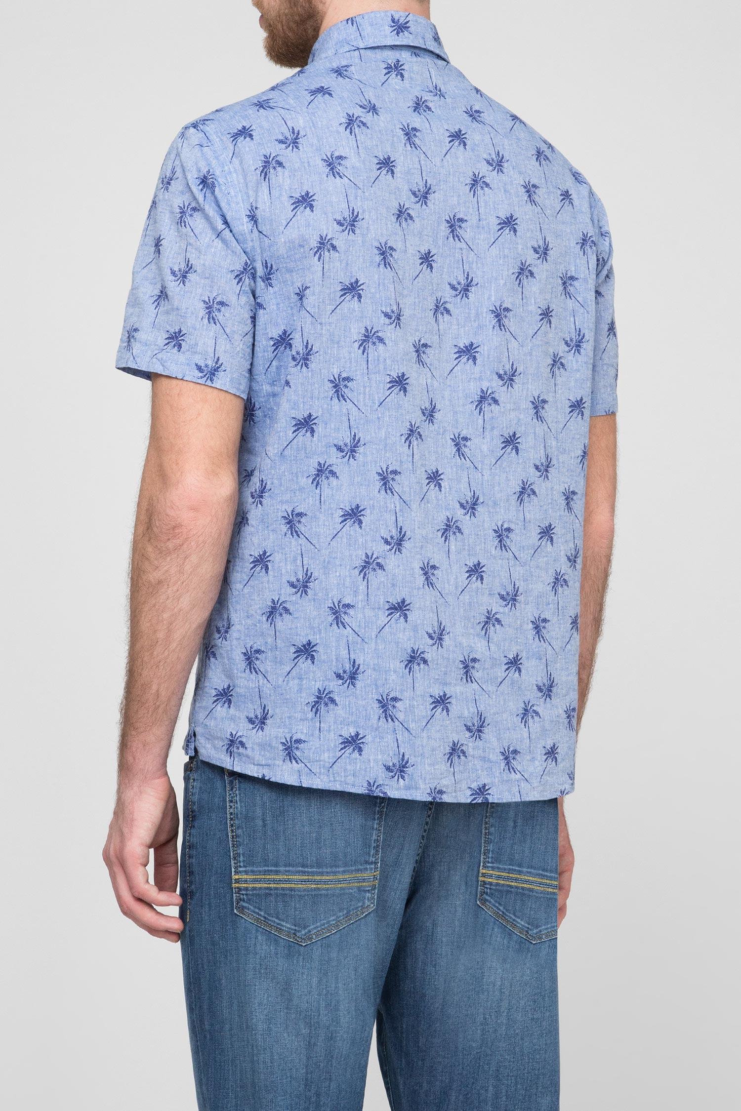 Мужская голубая льняная рубашка Brooksfield
