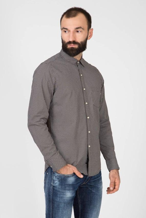Мужская коричневая рубашка в горошек