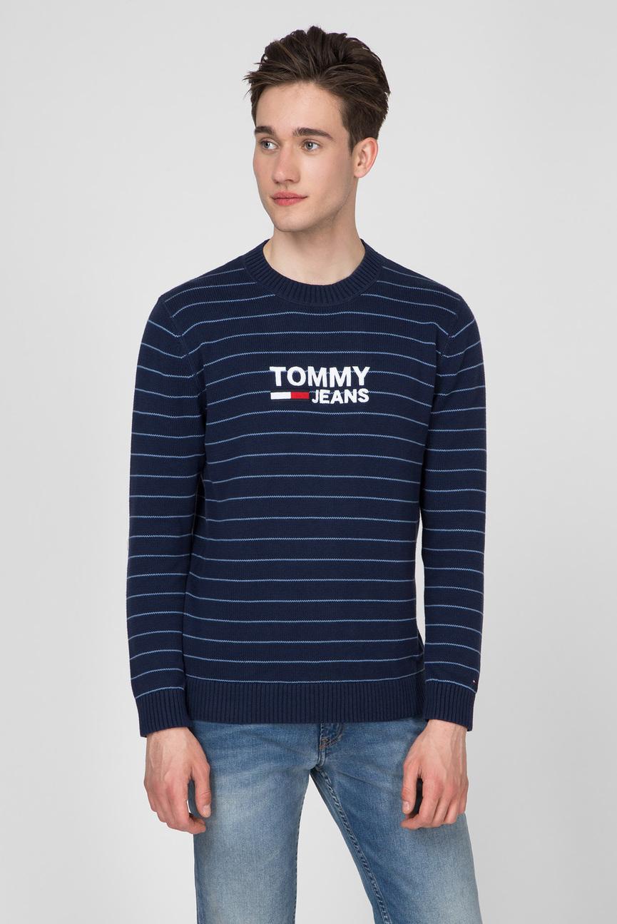 Мужской синий свитер в полоску TJM CORP LOGO STRIPE SWEATER