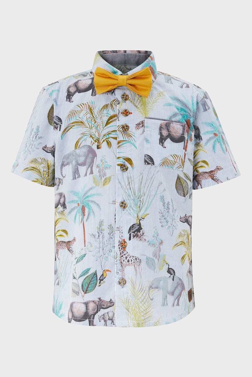 Детская голубая рубашка Erwin Jungle Print Shirt