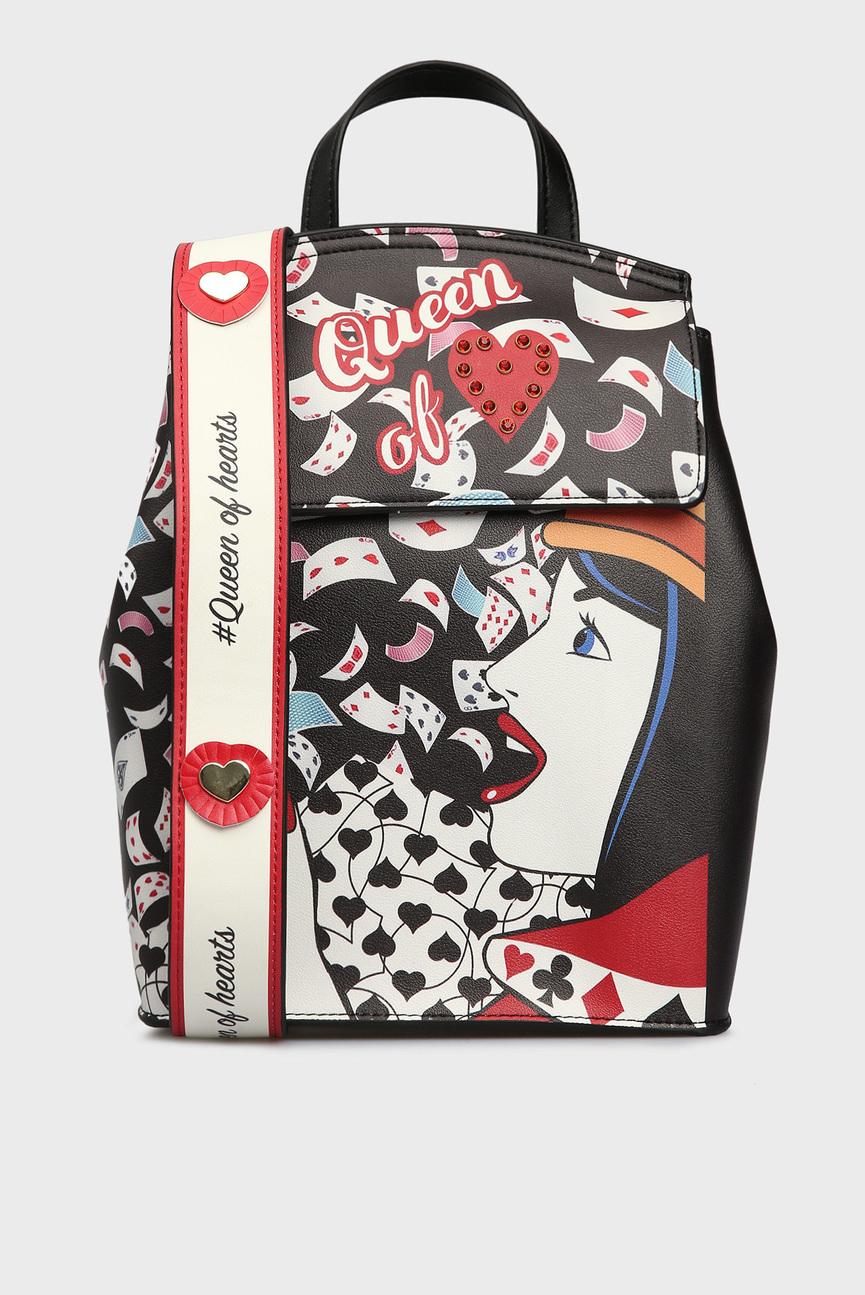 Женский черный рюкзак с принтом POKER