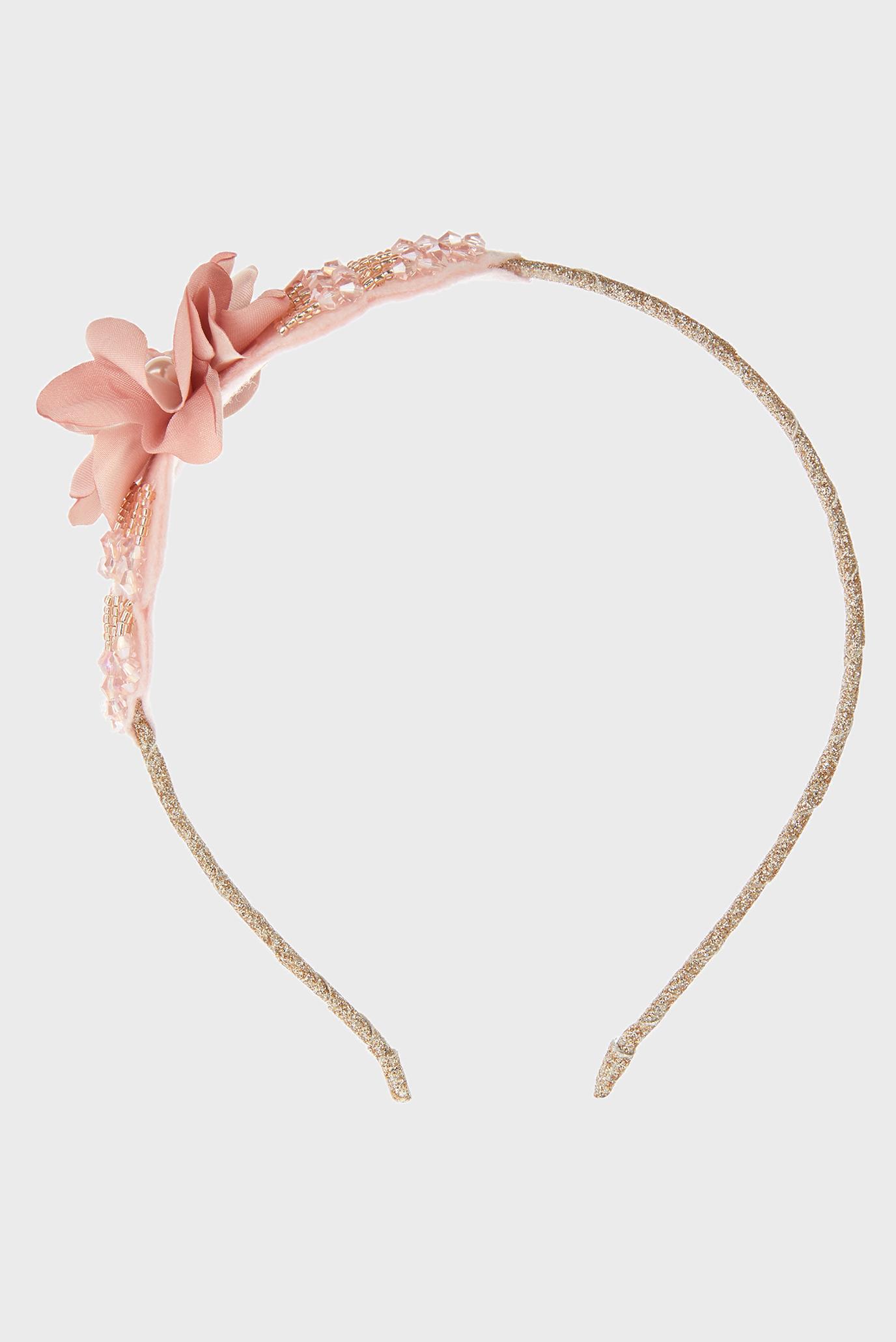 Детский розовый обруч Beaded Bow Flower Monsoon Children