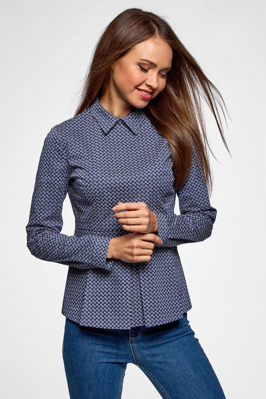 Женская темно-синяя блуза с баской