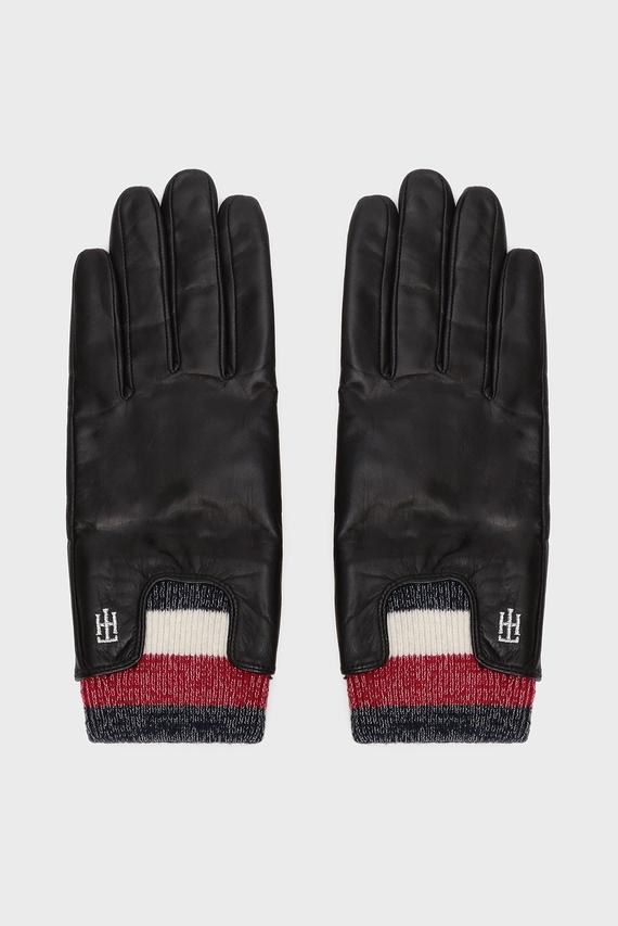 Женские темно-синие кожаные перчатки CORPORATE RIB