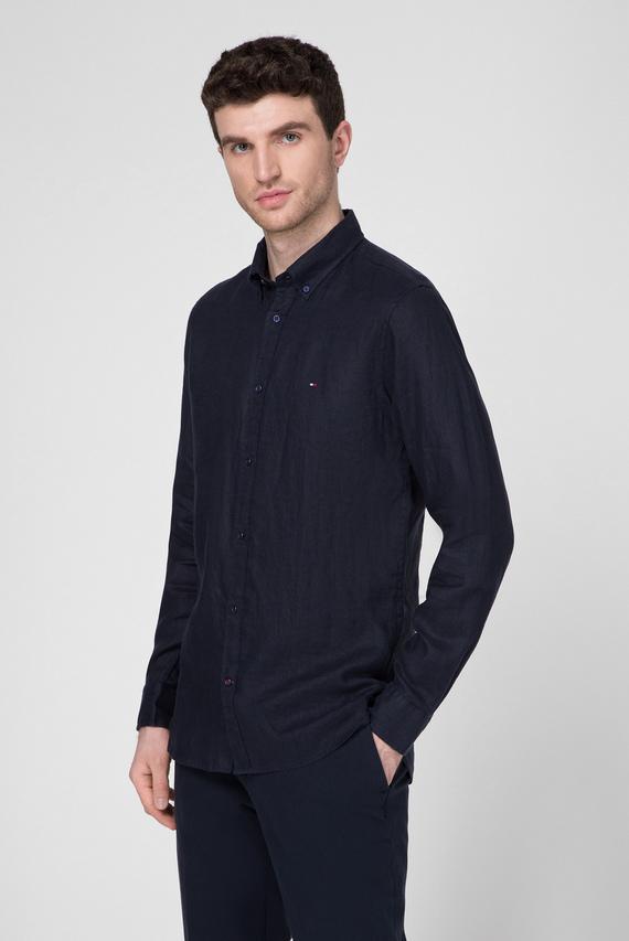 Мужская темно-синяя льняная рубашка  SLIM SOLID LINEN SHIRT