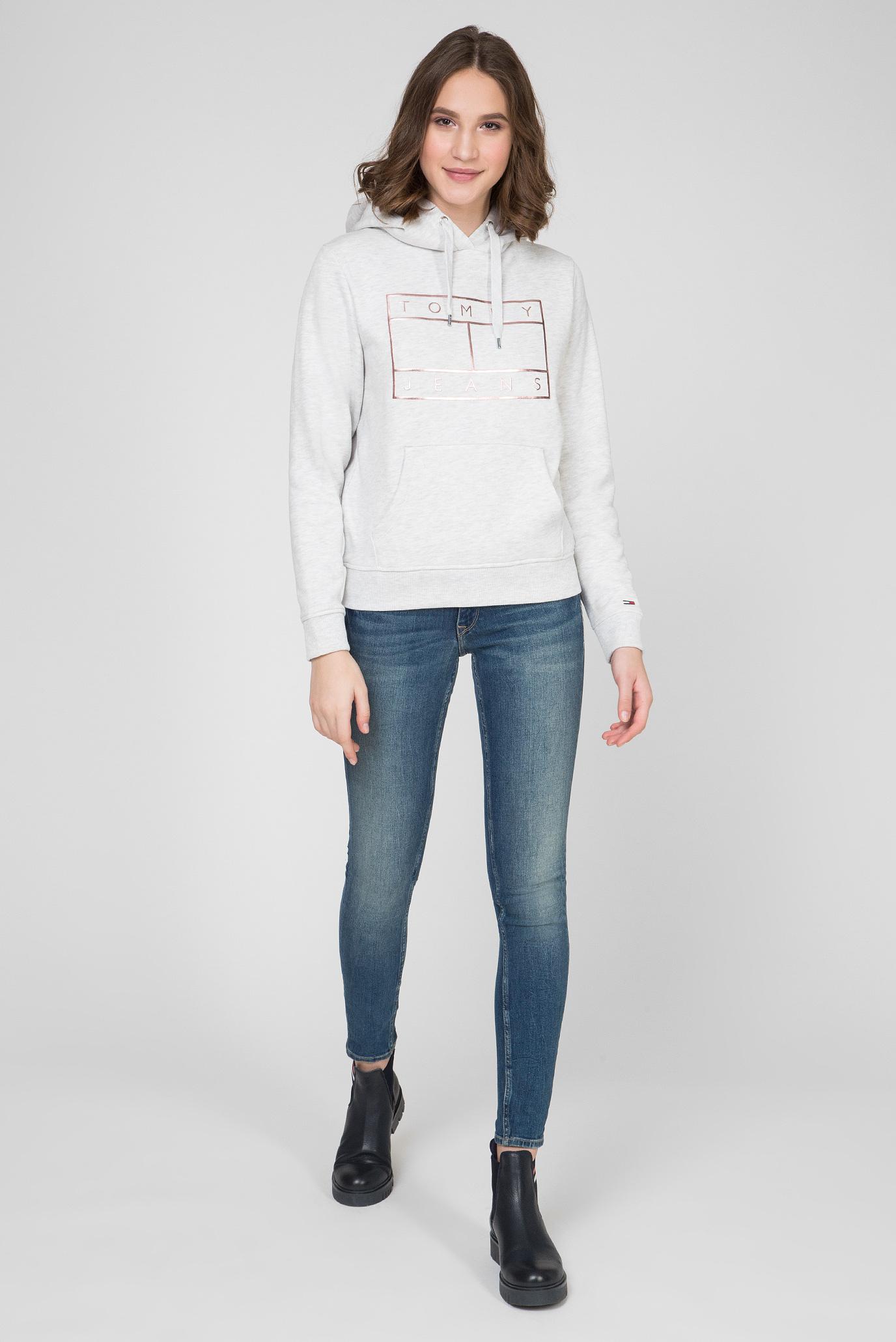 Женское серое худи TJW ESSENTIAL LOGO Tommy Jeans