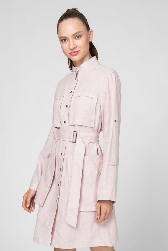 Женское розовое льняное платье WWD 001