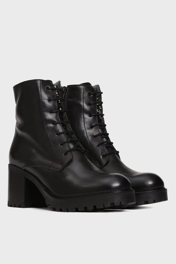 Женские черные кожаные ботильоны KATE