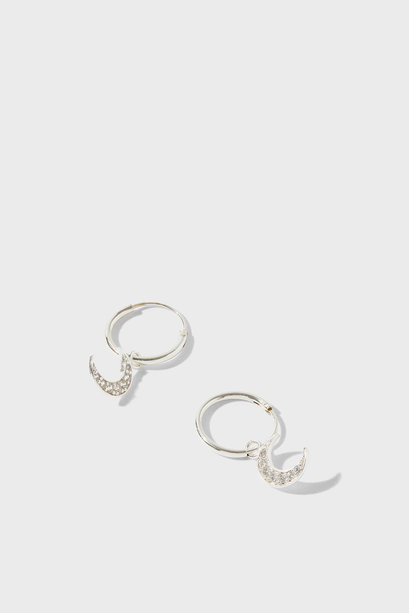 Жіночі срібні сережки ST SPARKLE MOON CHAR 1