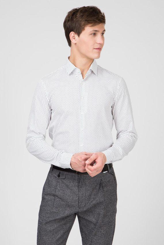 Мужская белая рубашка PRINTED EASY IRON SLIM