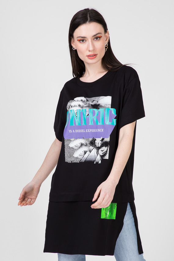 Женская черная футболка T-SHALIE