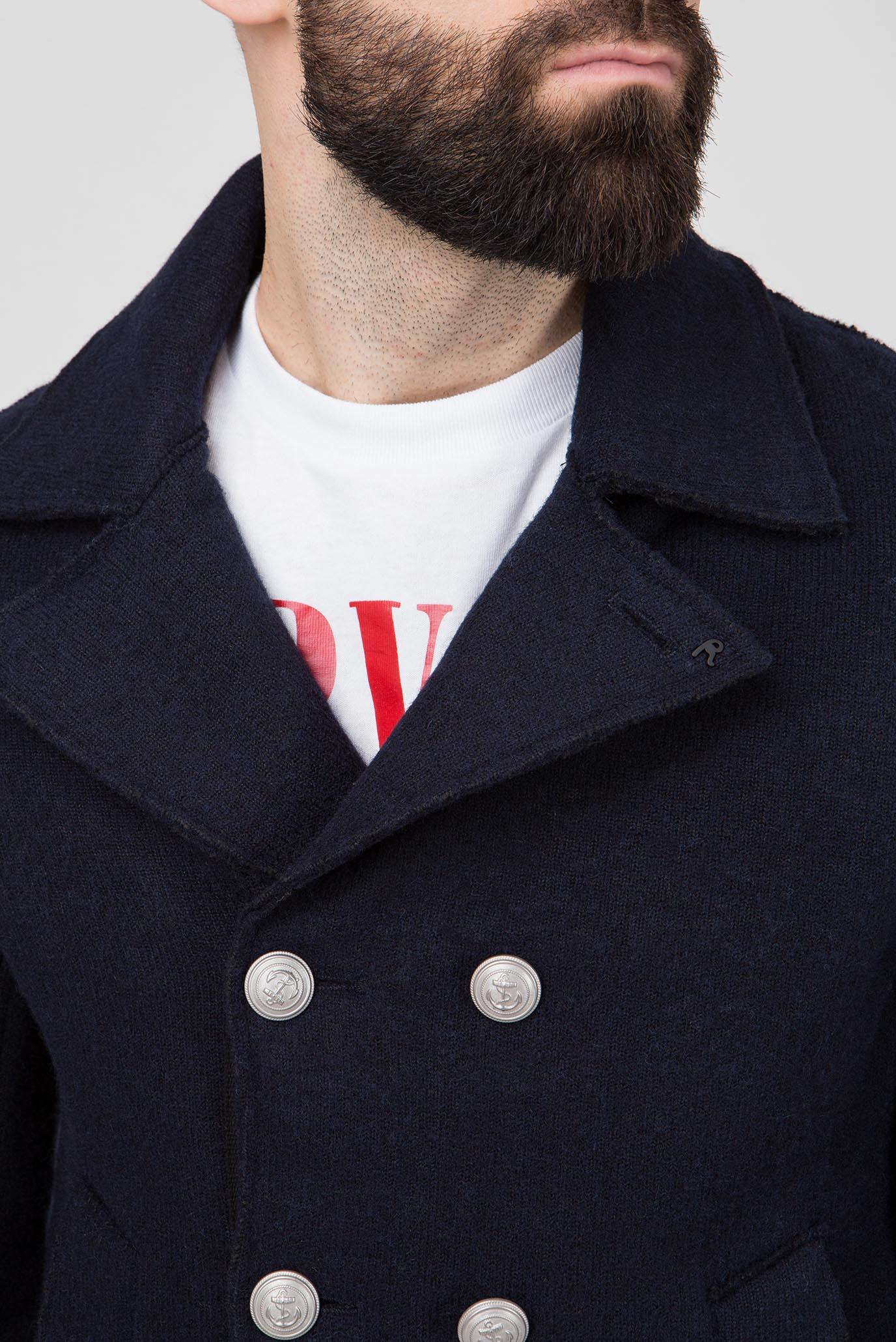 Мужское темно-синее шерстяное пальто Replay